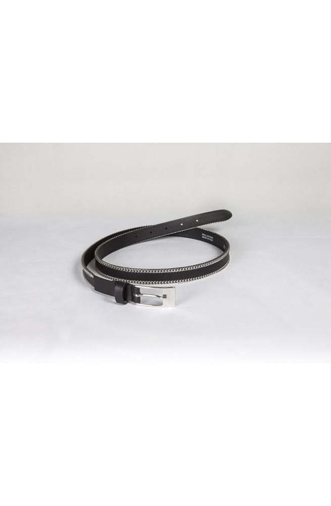 Ceinture equiline chain noir/80cm